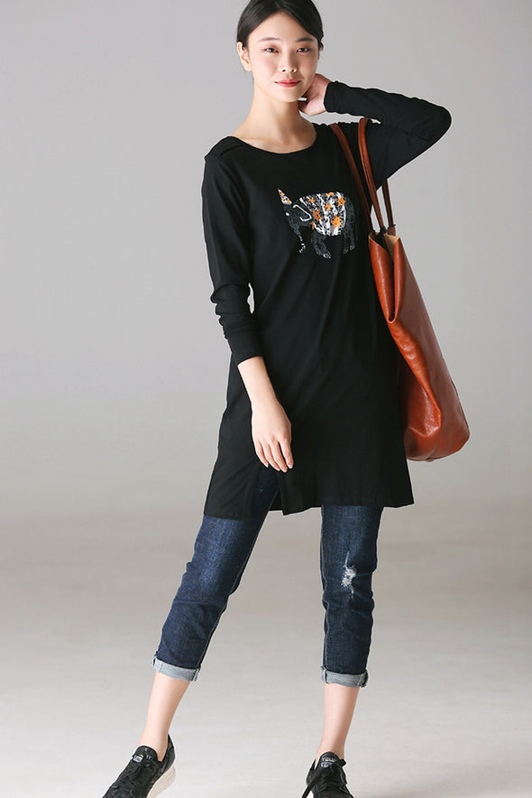 Casual Print Cotton Shirt Women Fall Blouse T8036