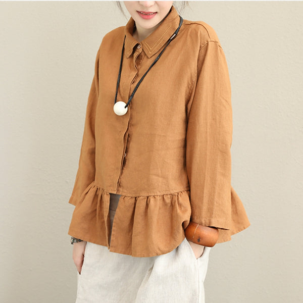 Casual Linen Shirt Women Loose Tops For Autumn Q1373