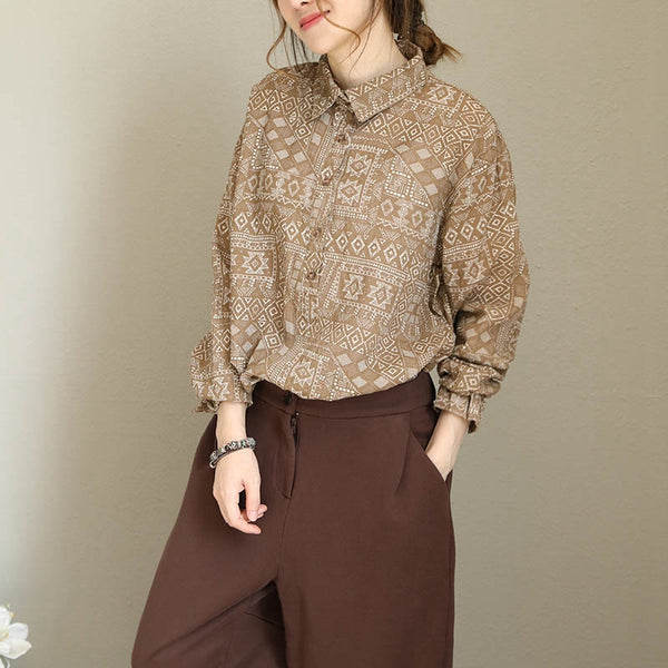 Fashion Cotton Linen Print Shirt Women Casual Fall Tops Q1692