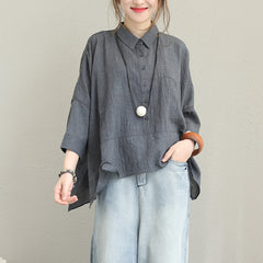 Loose Casual Cotton Shirt Women Blouse For Autumn Q1357