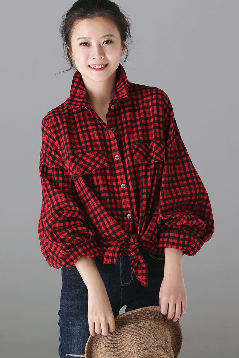 6004ecf5 Fashion Red Plaid Button Down Shirt Women Cotton Linen Blouse C6020 ...