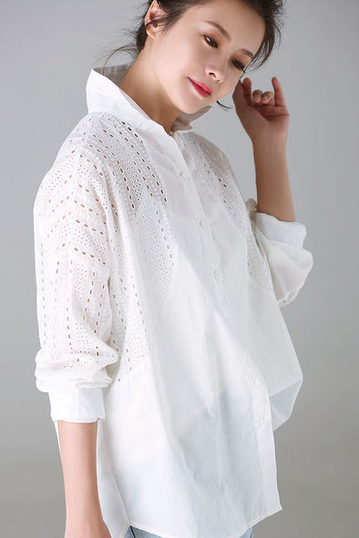 Fashion Quilted Cotton Shirt Women Tops For Fall C1202