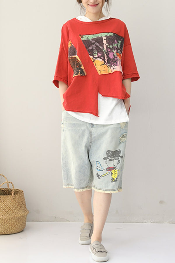 Women Summer Vintage Short Fleece Casual T Shirt Q9121