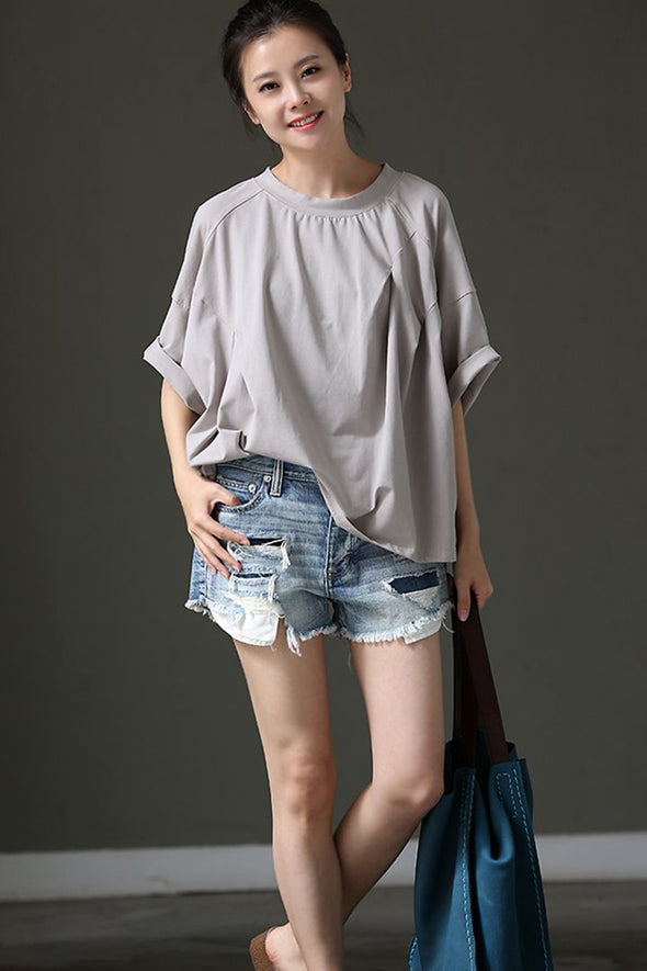 Casual A Line Thin Gray Cotton T Shirt Loose Clothes T8161 - FantasyLinen