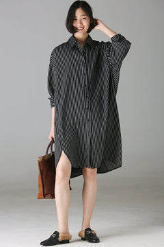 Loose Black Striped Long Shirt Women Tops For Autumn C9200