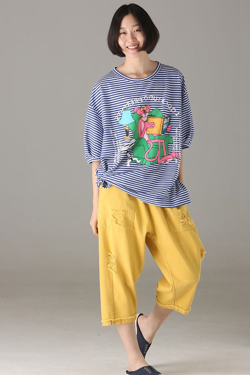 dce06a9828c Loose Blue Striped T Shirt Women Cotton Blouse T8500