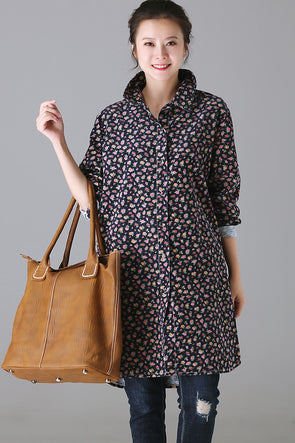 Fall Fashion Blue Floral Cotton Shirt For Women C8888