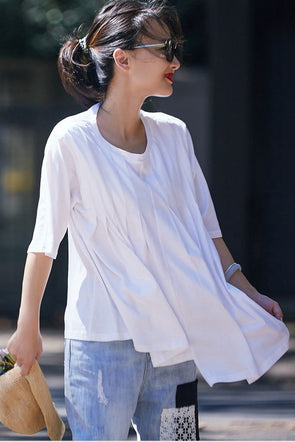 Summer Pure Color Cotton T Shirt Women Cute Tops T8552