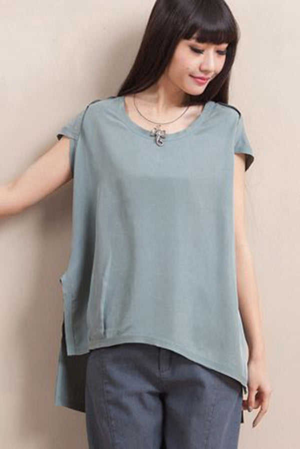 Korea Style Simple Short Sleeve T Shirt For Women S7052