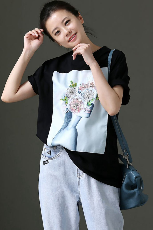 Casual Printed Thin Cotton T Shirt For Women T1109 - FantasyLinen