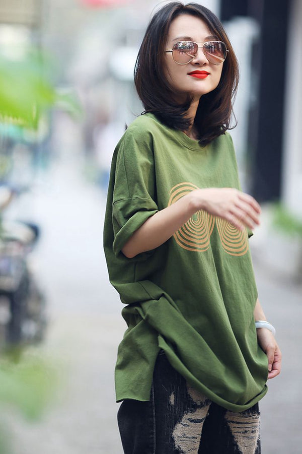Summer Thin Printed Long Green Cotton Tops For Women T631