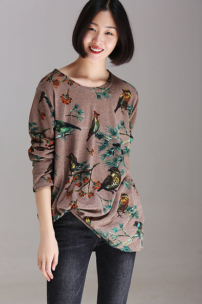 Fashion Casual Print Base Shirt Women Fall Tops T7121