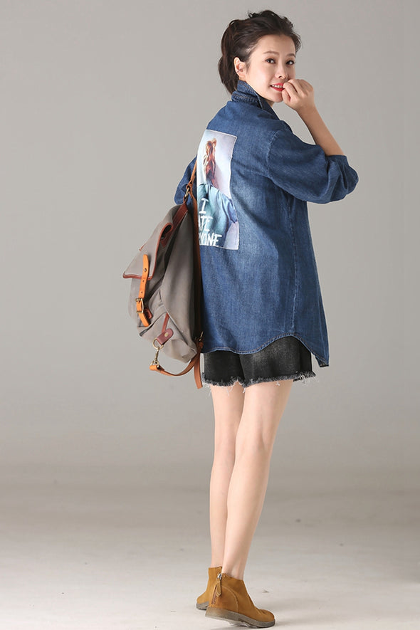 Casual Button Down Blue Denim Shirt Women Autumn Tops C5551