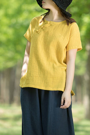 Loose Chinese Style Linen Short T Shirt For Women S7056