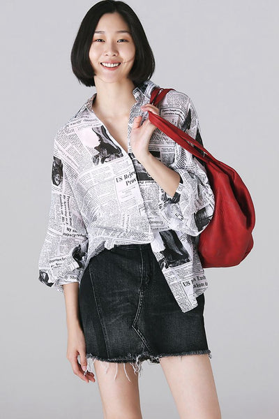 Casual News Paper Print Shirt Women Cotton Blouse For Autumn C3267