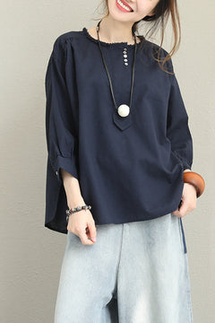 Loose Pure Color Cotton Linen Shirt Women Fall Blouse Q1370