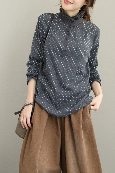 Women Casual High Neck Knitted Polka Dot Cotton Base Shirt Q1633