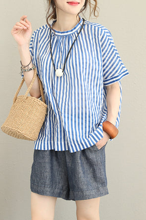 Summer Blue Striped Button Down T Shirt Women Casual Blouse Q1256