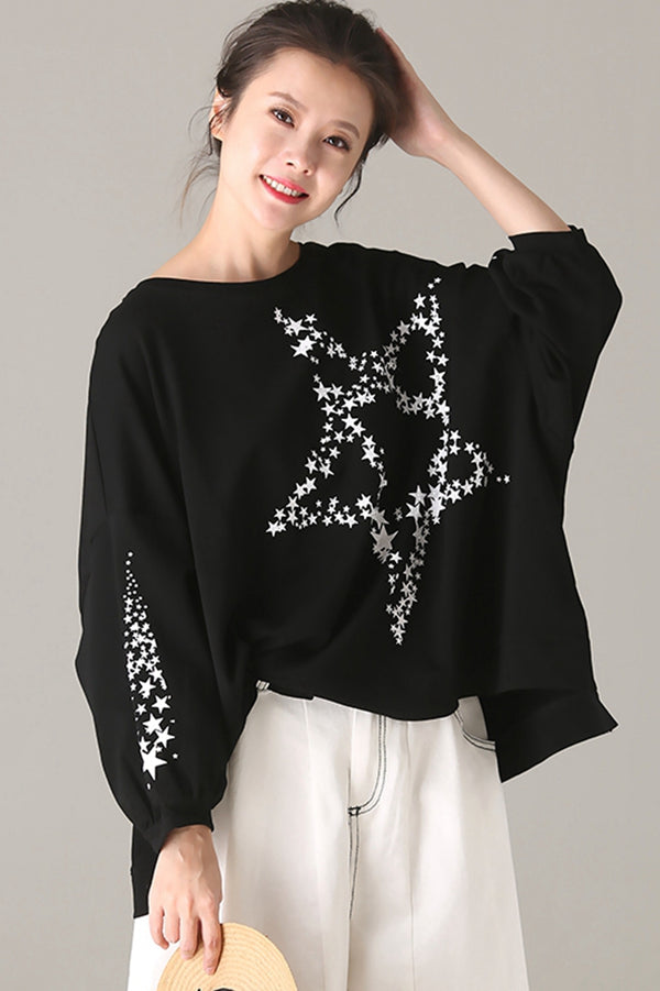 Loose Black Cotton Shirt Women Tops For Autumn T5099
