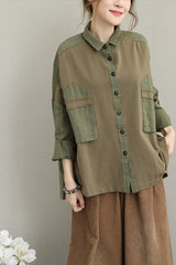 Women Vintage Loose Green Cotton Linen Shirt Casual Blouse Q1635