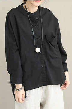 Korea Style Button Down Linen Shirt For Women Q1395