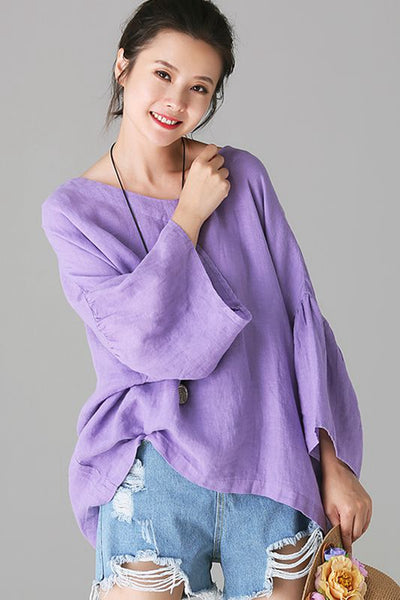 Casual Purple Cotton Linen T Shirt Women Loose Blouse C1157