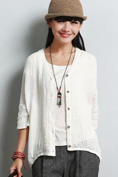 Summer Thin Button Down Linen T Shirt Short Women Tops S7051