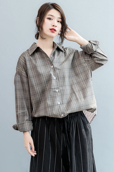 Casual Khaki Plaid Shirt Women Tops For Fall S2084