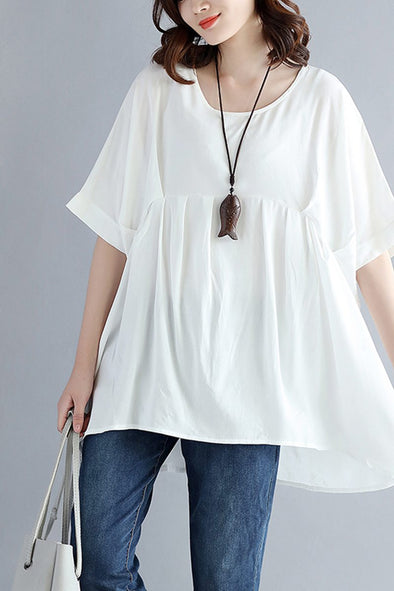 Summer Women Plus Size White And Black T Shirt S1646 - FantasyLinen