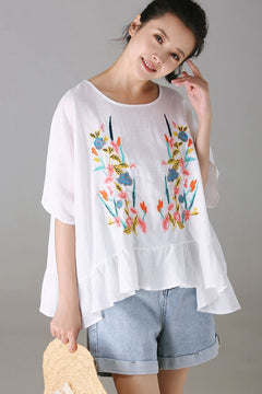 Cute Embroidery White T Shirt Women Loose Tops C9006