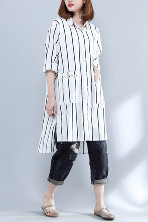 White Striped Long Sleeve Cotton Long Shirt For Women S1642 - FantasyLinen
