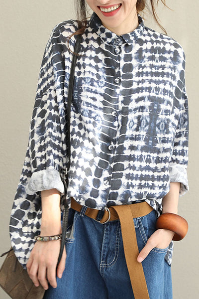 Casual Black Print Linen Shirt Women Fall Blouse Q1516