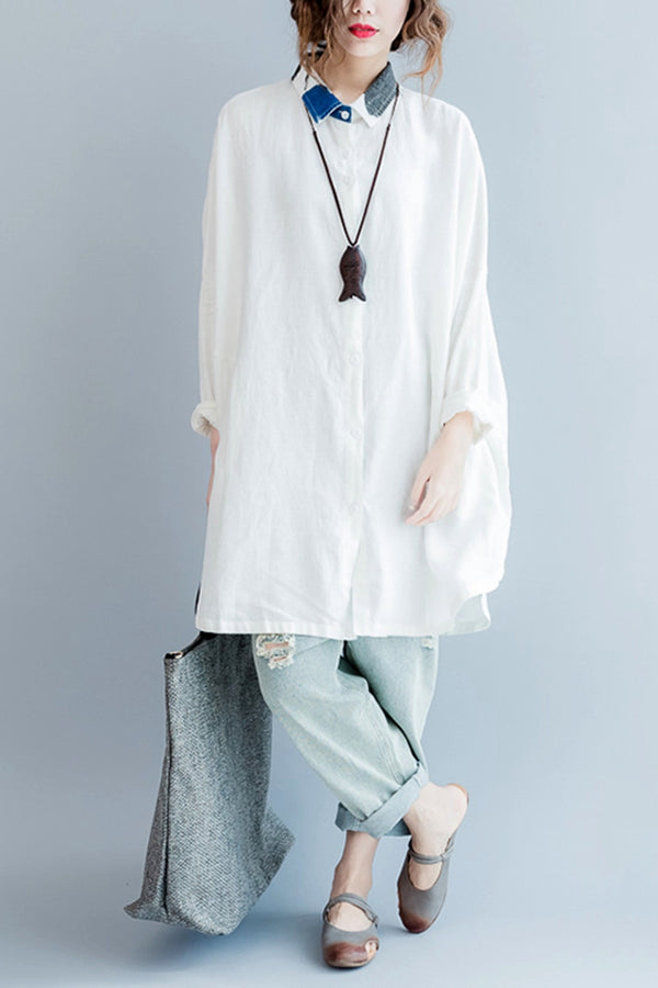 White Long Sleeve Shirt Women Casual Cotton Linen Blouse S6084