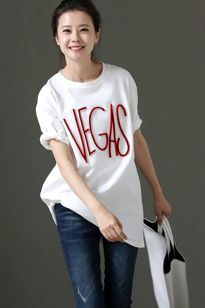 Cute Round Neck White Cotton Women T Shirt T1210