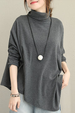 Casual High Neck Cotton Shirt For Women Q1391