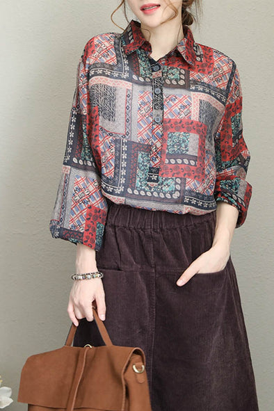 Korea Style Vintage Print Cotton Shirt Women Casual Blouse Q1681