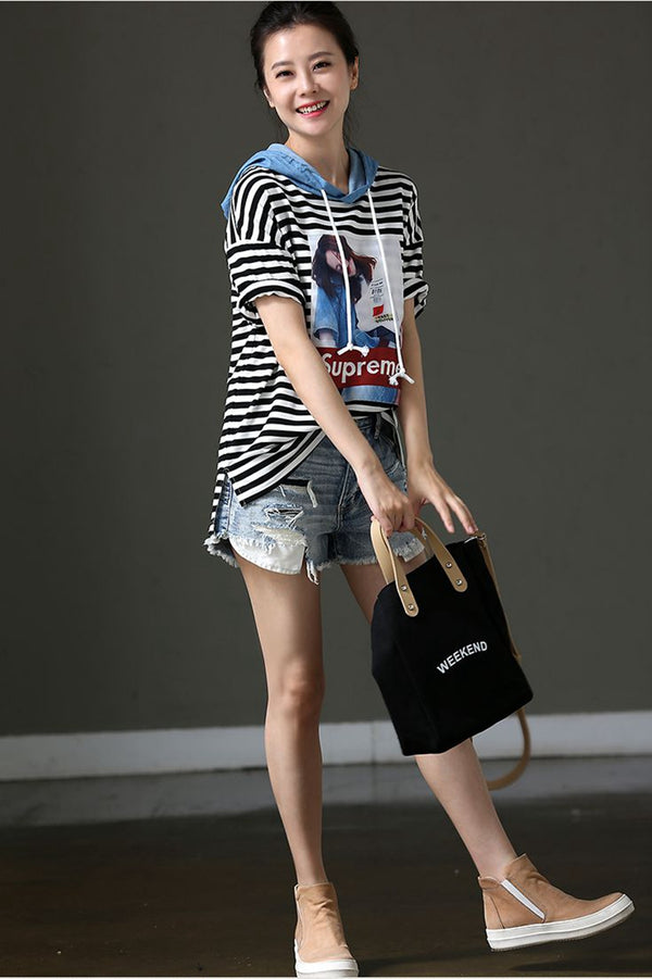 Casual Striped Printed Hoodie T Shirt Women Tops T9916 - FantasyLinen