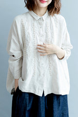Cute Embroidery Beige Shirt Women Fall Blouse S3080