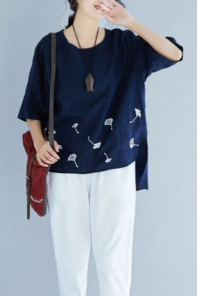 1209c877b29dae Cute Embroidery Blue Cotton Linen T Shirt Women Casual Blouse S1678