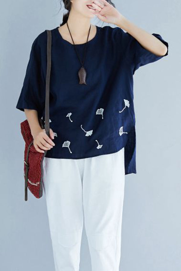 Cute Embroidery Blue Cotton Linen T Shirt Women Casual Blouse S1678