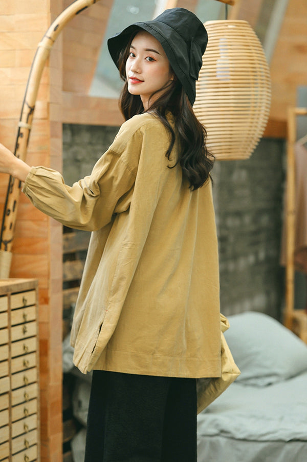 Loose Cute Yellow Corduroy Shirt Women Fall Tops S1792