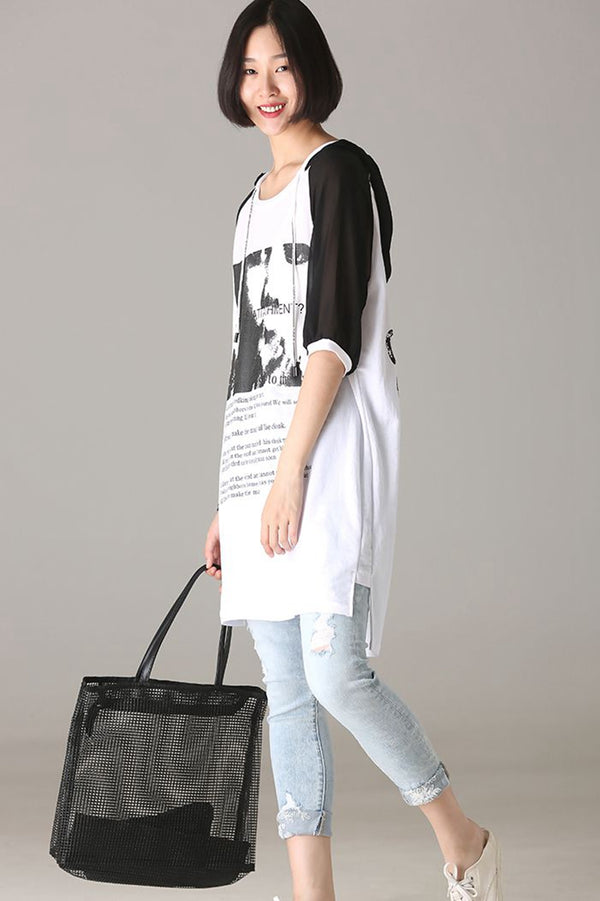 Casual Hoodie Quilted Print Long Shirt Women Loose Blouse T8125