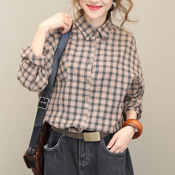 Fall Vintage Plaid Cotton Long Sleeve Shirt For Women Q1523