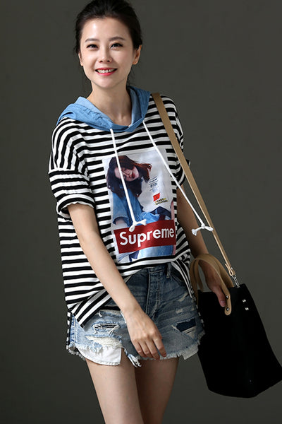 Casual Striped Printed Hoodie T Shirt Women Tops T9916