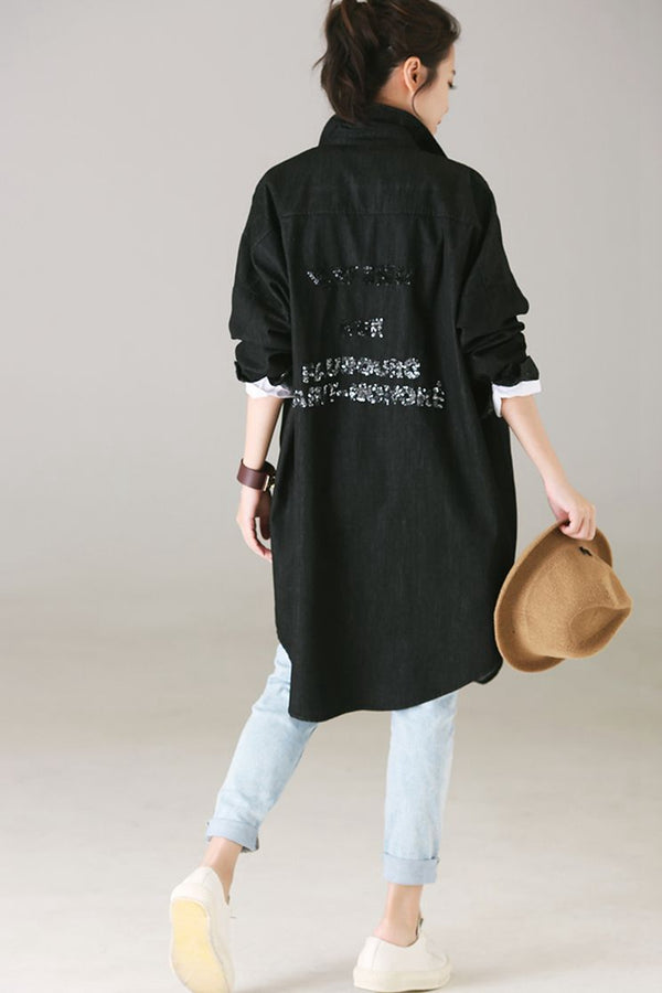 Fashion Blue And Black Denim Long Shirt For Autumn C8033