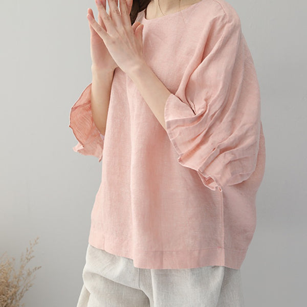 Women Summer Round Neck  Bat Sleeve Linen T Shirt 860
