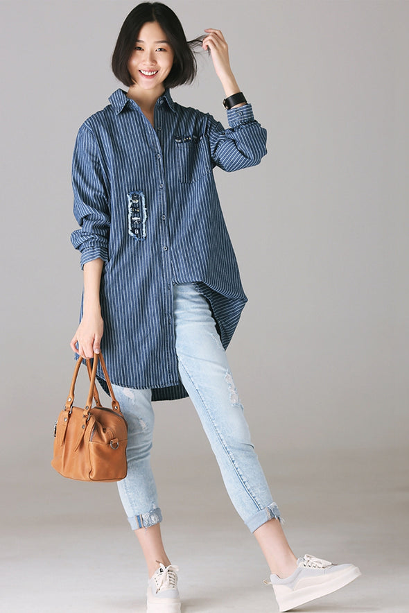 Casual Blue Animal Embroidery Cotton Shirt For Women C5858