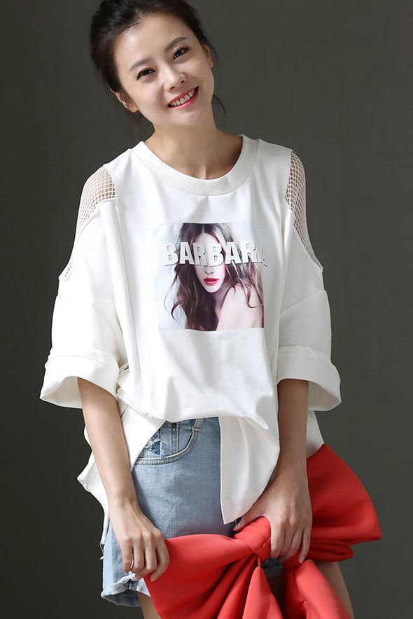 Art Round Neck Cotton T Shirt For Women T0130 - FantasyLinen