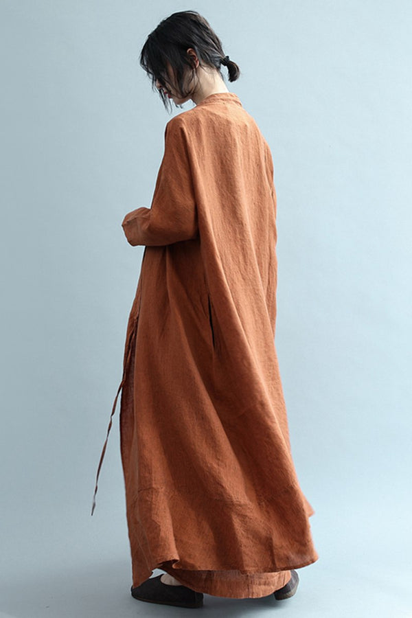 Vintage Casual Drawstring Linen Long Coat For Women S2416