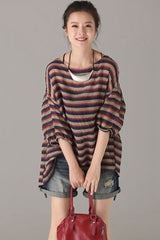Vintage Striped Thin T Shirt Women Casual Tops C6390